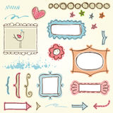 установленные рамки doodle Стоковая Фотография RF