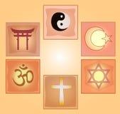 Установленные религиозные символы Стоковая Фотография RF