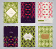 Установленные рождественские открытки Нового Года и Стоковое Изображение