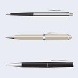 Установленные ручки металла Иллюстрация вектора изолированная на предпосылке Стоковые Фото