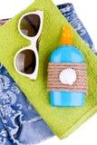 установленные сандалии песка куртки пляжа мешка раздувные Стоковые Фото