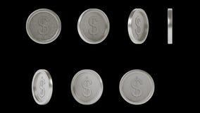 Установленные серебряные монеты металла высокого разрешения сияющие стоковая фотография