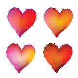 Установленные сердца акварели Стоковые Фото