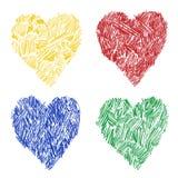 Установленные сердца акварели Стоковые Изображения RF