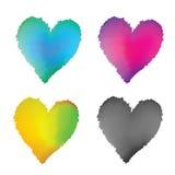 Установленные сердца акварели CMYK Стоковое Изображение RF