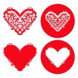Установленные сердца валентинок красные вычерченная рука Стоковые Фото
