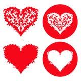 Установленные сердца валентинок красные вычерченная рука Стоковое Изображение RF