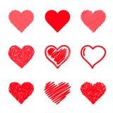 Установленные сердца вектора. Нарисованная рука. иллюстрация вектора