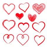 Установленные сердца вектора. Нарисованная рука. иллюстрация штока