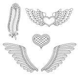 Установленные сердца татуировки, крыла, перо Стоковые Изображения