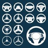 Установленные силуэты рулевого колеса автомобиля Стоковые Изображения RF