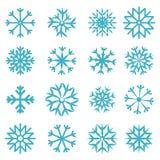 Установленные снежинки вектора голубые Стоковые Изображения