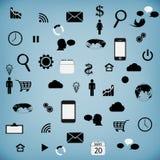 Установленные современные значки сети для таблетки Иллюстрация вектора