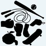Установленные спортивные товары иллюстрация штока