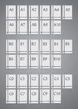 Установленные стандартные размеры бумаги значков иллюстрация штока