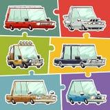 Установленные стикеры автомобилей шаржа Стоковое Фото