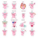 Установленные стикеры свиней бесплатная иллюстрация