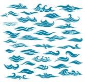 Установленные стилизованные волны от элемента дизайна бесплатная иллюстрация
