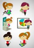установленные стили причёсок стекел девушок милого способа одежд детей шаржа модные Стоковое Изображение RF