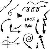 Установленные стрелки нарисованные рукой простые Стоковое Изображение