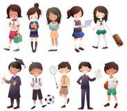 Установленные студенты шаржа Стоковое Изображение