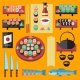 Установленные суши вектора и японские значки еды Стоковое фото RF