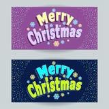 Установленные с Рождеством Христовым горизонтальные знамена в стиле шаржа на сирени и на синем иллюстрация вектора