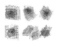 Установленные текстуры Grunge crosshatching. вектор eps8 Стоковая Фотография RF