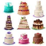 Установленные торты испеченные помадкой бесплатная иллюстрация