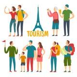 Установленные туристы времени шаржа различные Стоковое фото RF