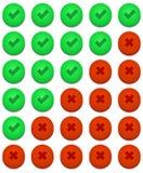 Установленные утвердительный ответ вектора современный и отсутствие значки Стоковые Изображения RF