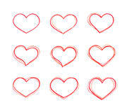 Установленные формы сердца нарисованного вручную вектора красные иллюстрация вектора