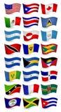 Установленные флаги летания страны Америк Стоковые Изображения