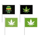 Установленные флаги Rasta Знамя для наркоманов ямайки Зеленый череп и Стоковые Фото