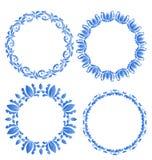 Установленные флористические богато украшенные круглые рамки для вашего дизайна торжества po Стоковые Изображения RF