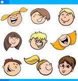 Установленные характеры детей шаржа иллюстрация штока