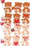 Установленные характеры плюшевых медвежоат Стоковое фото RF