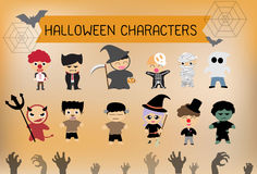 Установленные характеры хеллоуина стоковое фото