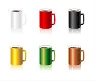 Установленные цветастые чашки бесплатная иллюстрация