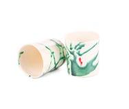 Установленные чашки чая керамики Стоковое Фото