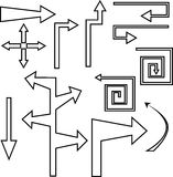 Установленные черные стрелки и указатели контура иллюстрация вектора