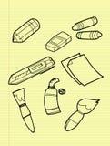 Установленные чертегные инструменты чертежа от руки. иллюстрация вектора