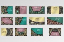 Установленные шаблоны Визитные карточки, приглашения и знамена иллюстрация штока