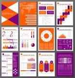 Установленные шаблоны дизайна брошюры и рогульки Infographic Стоковые Изображения