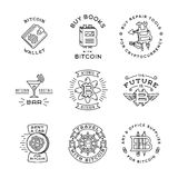 Установленные шаблоны логотипа Bitcoin Значок Cryptocurrency Стоковая Фотография