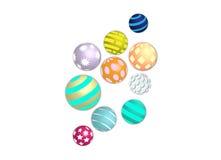 Установленные шарики красочных картин уникально Стоковое фото RF