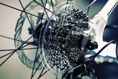 установленные шестерни крупного плана chainrings велосипеда Стоковая Фотография