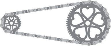 установленные шестерни крупного плана chainrings велосипеда Стоковое Изображение RF