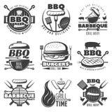 Установленные эмблемы гриля BBQ иллюстрация вектора