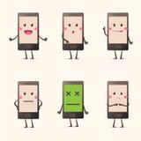 Установленные эмоции мобильного телефона Kawaii Стоковое Фото